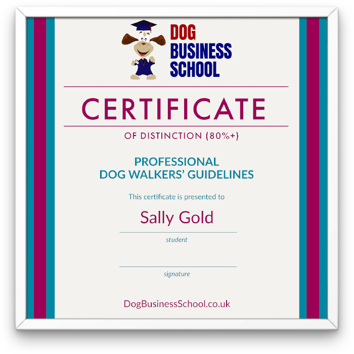 Dog Business certificate